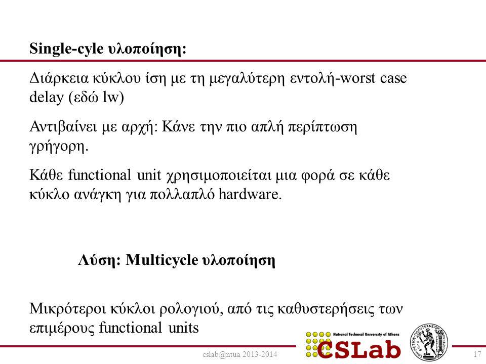 cslab@ntua 2013-201417 Λύση: Multicycle υλοποίηση Single-cyle υλοποίηση: Διάρκεια κύκλου ίση με τη μεγαλύτερη εντολή-worst case delay (εδώ lw) Αντιβαίνει με αρχή: Κάνε την πιο απλή περίπτωση γρήγορη.