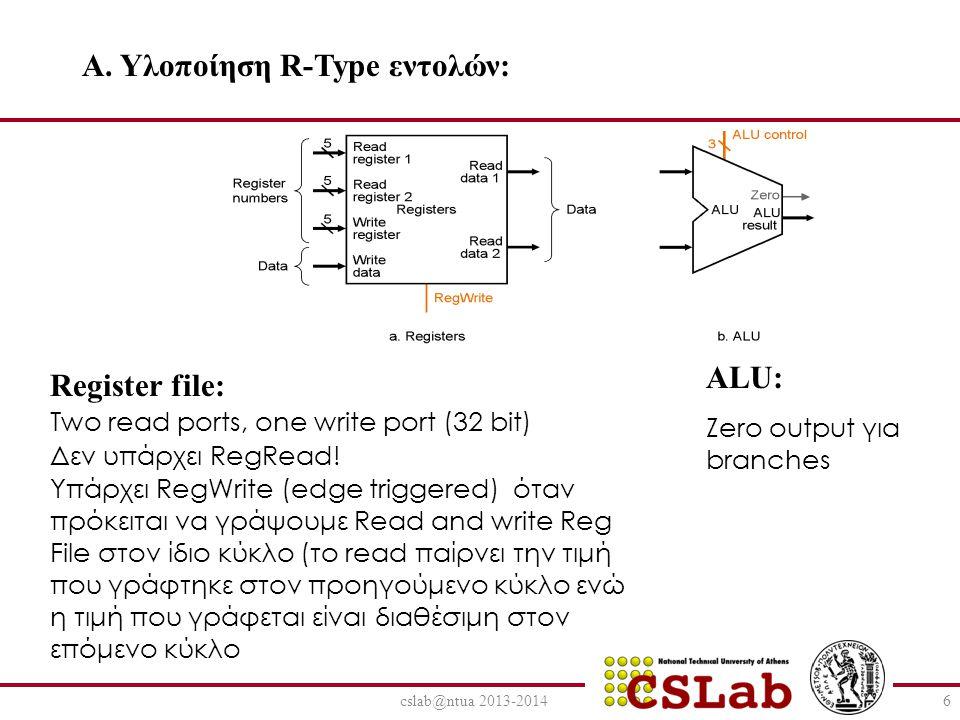 cslab@ntua 2013-20146 A. Υλοποίηση R-Type εντολών: Register file: Two read ports, one write port (32 bit) Δεν υπάρχει RegRead! Υπάρχει RegWrite (edge
