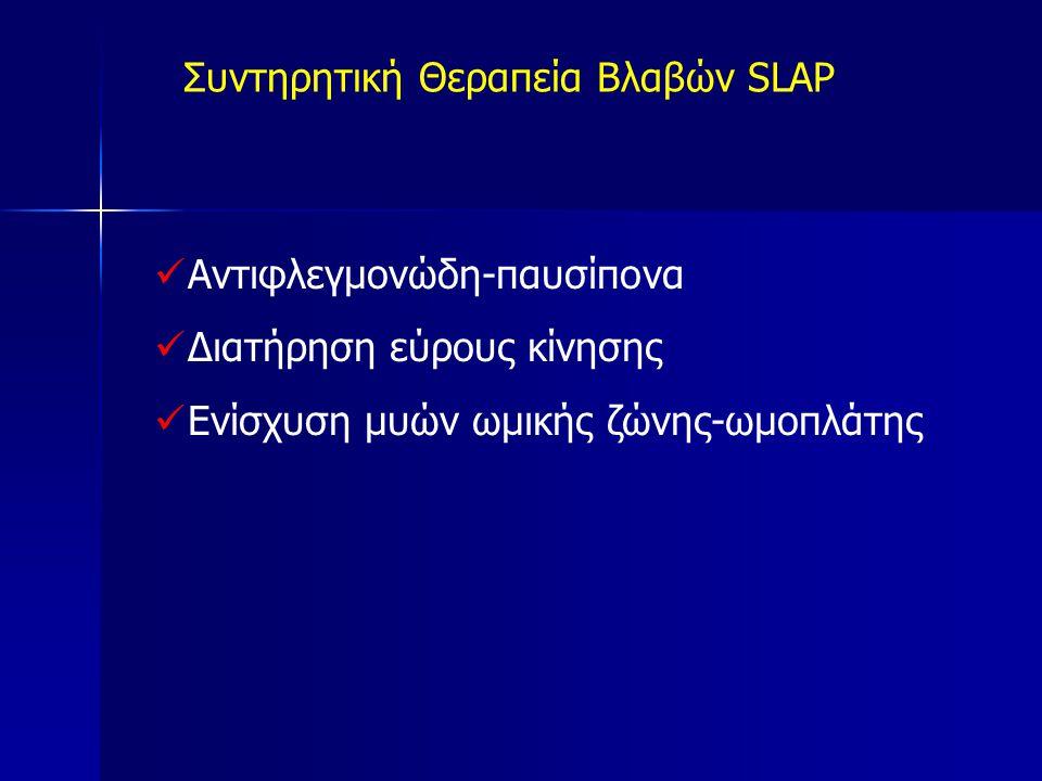 Συντηρητική Θεραπεία Βλαβών SLAP Αντιφλεγμονώδη-παυσίπονα Διατήρηση εύρους κίνησης Ενίσχυση μυών ωμικής ζώνης-ωμοπλάτης