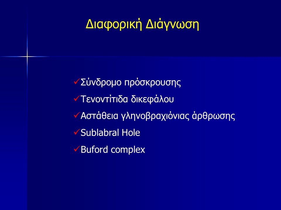 Διαφορική Διάγνωση Σύνδρομο πρόσκρουσης Τενοντίτιδα δικεφάλου Αστάθεια γληνοβραχιόνιας άρθρωσης Sublabral Hole Buford complex