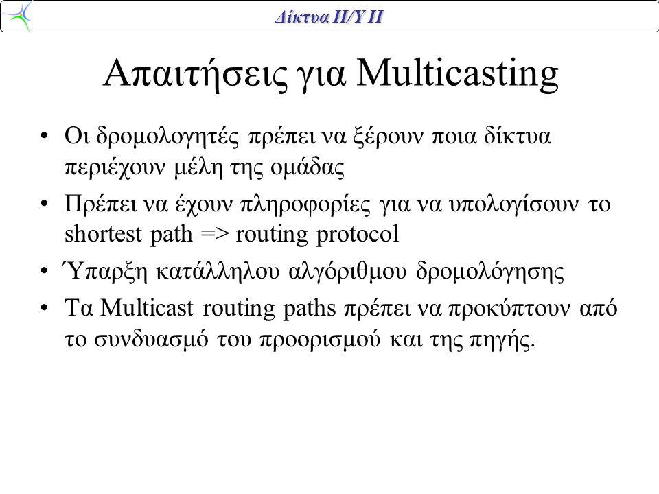Δίκτυα Η/Υ ΙΙ Απαιτήσεις για Multicasting Οι δρομολογητές πρέπει να ξέρουν ποια δίκτυα περιέχουν μέλη της ομάδας Πρέπει να έχουν πληροφορίες για να υπολογίσουν το shortest path => routing protocol Ύπαρξη κατάλληλου αλγόριθμου δρομολόγησης Τα Multicast routing paths πρέπει να προκύπτουν από το συνδυασμό του προορισμού και της πηγής.