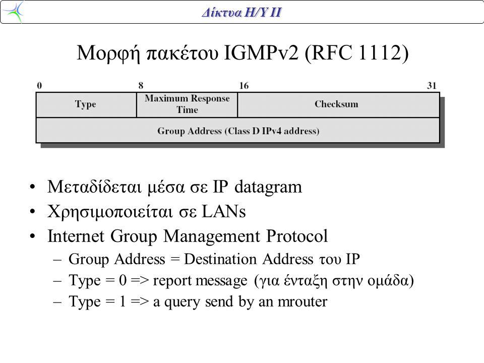 Δίκτυα Η/Υ ΙΙ Μορφή πακέτου IGMPv2 (RFC 1112) Μεταδίδεται μέσα σε IP datagram Χρησιμοποιείται σε LANs Internet Group Management Protocol –Group Address = Destination Address του ΙP –Type = 0 => report message (για ένταξη στην ομάδα) –Type = 1 => a query send by an mrouter