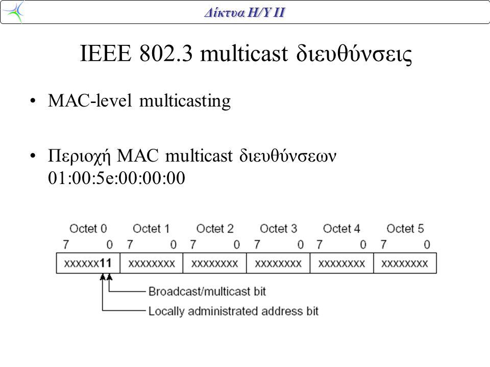 Δίκτυα Η/Υ ΙΙ IEEE 802.3 multicast διευθύνσεις MAC-level multicasting Περιοχή MAC multicast διευθύνσεων 01:00:5e:00:00:00