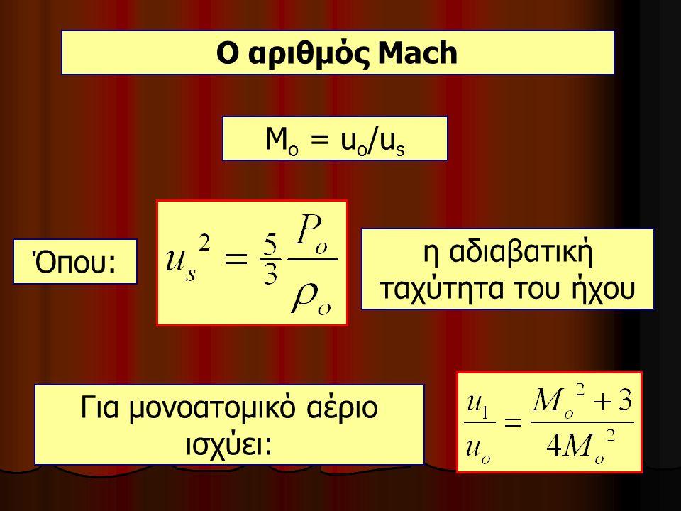 Ο αριθμός Mach Μ ο = u ο /u s Όπου: η αδιαβατική ταχύτητα του ήχου Για μονοατομικό αέριο ισχύει: