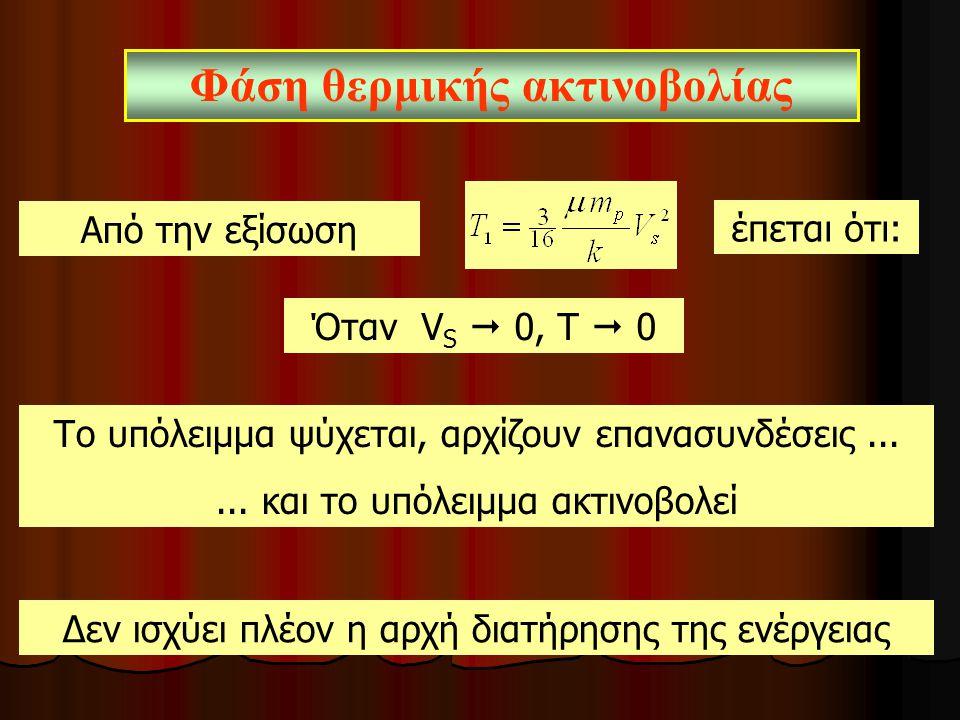 Από την εξίσωση Το υπόλειμμα ψύχεται, αρχίζουν επανασυνδέσεις...... και το υπόλειμμα ακτινοβολεί Φάση θερμικής ακτινοβολίας έπεται ότι: Όταν V S  0,