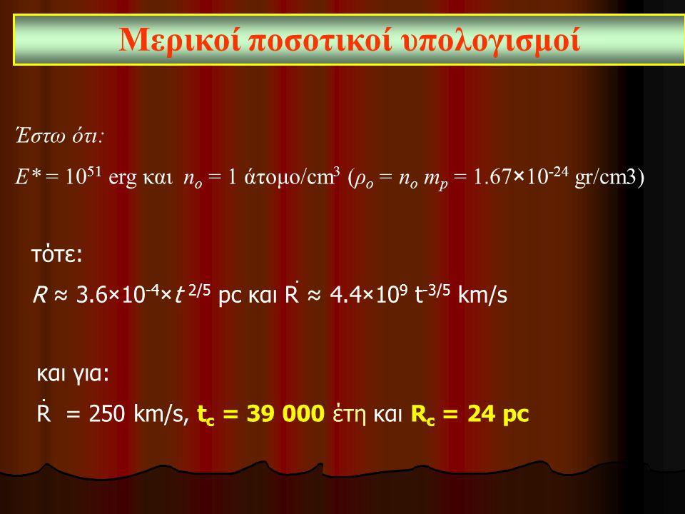 Μερικοί ποσοτικοί υπολογισμοί Έστω ότι: Ε* = 10 51 erg και n ο = 1 άτομο/cm 3 (ρ ο = n ο m p = 1.67×10 ‑ 24 gr/cm3) τότε: R ≈ 3.6×10 ‑ 4 ×t 2/5 pc και R ≈ 4.4×10 9 t ‑ 3/5 km/s και για: R = 250 km/s, t c = 39 000 έτη και R c = 24 pc..