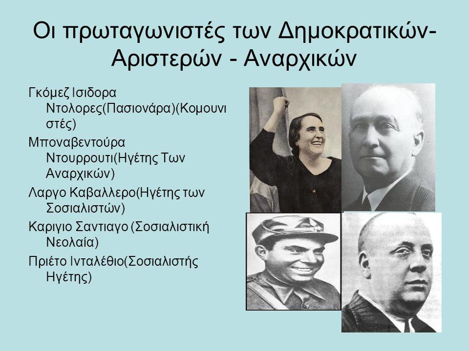 Οι πρωταγωνιστές των Δημοκρατικών- Αριστερών - Αναρχικών Γκόμεζ Ισιδορα Ντολορες(Πασιονάρα)(Κομουνι στές) Μποναβεντούρα Ντουρρουτι(Ηγέτης Των Αναρχικώ