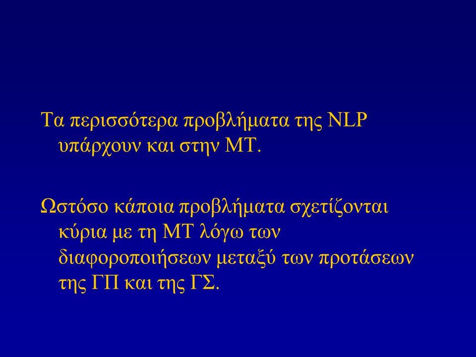 Τα περισσότερα προβλήματα της NLP υπάρχουν και στην ΜΤ. Ωστόσο κάποια προβλήματα σχετίζονται κύρια με τη ΜΤ λόγω των διαφοροποιήσεων μεταξύ των προτάσ