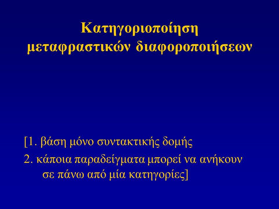 Κατηγοριοποίηση μεταφραστικών διαφοροποιήσεων [1. βάση μόνο συντακτικής δομής 2. κάποια παραδείγματα μπορεί να ανήκουν σε πάνω από μία κατηγορίες]