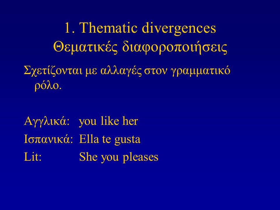 1. Thematic divergences Θεματικές διαφοροποιήσεις Σχετίζονται με αλλαγές στον γραμματικό ρόλο. Αγγλικά: you like her Ισπανικά: Ella te gusta Lit: She