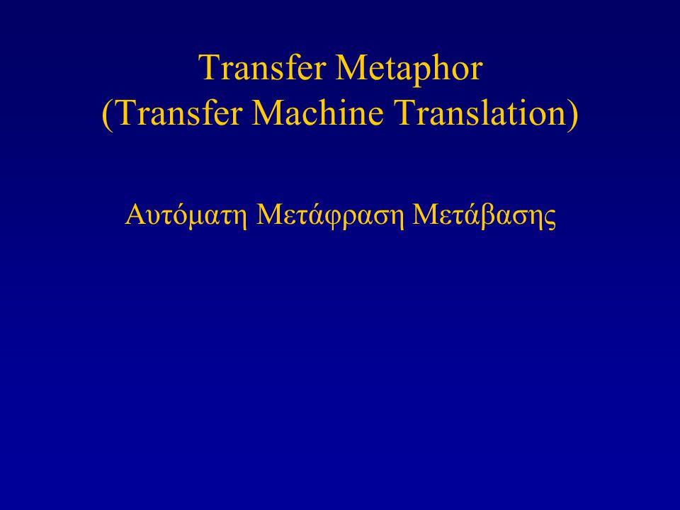 Τα συστήματα Μεταφοράς χρειάζονται μονογλωσσικά τμήματα (modules) για την ανάλυση και την παραγωγή προτάσεων, και τμήματα μεταφοράς για την συσχέτιση των μεταφραστικά ισοδύναμων αυτών των προτάσεων.
