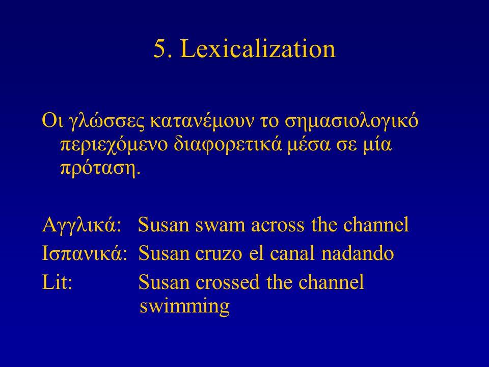 5. Lexicalization Οι γλώσσες κατανέμουν το σημασιολογικό περιεχόμενο διαφορετικά μέσα σε μία πρόταση. Αγγλικά: Susan swam across the channel Ισπανικά: