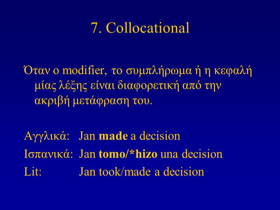7. Collocational Όταν ο modifier, το συμπλήρωμα ή η κεφαλή μίας λέξης είναι διαφορετική από την ακριβή μετάφραση του. Αγγλικά: Jan made a decision Ισπ