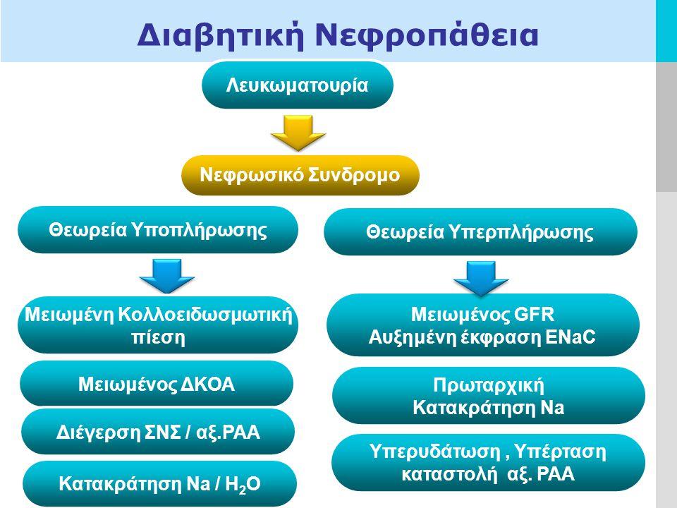 LOGO Διαβητική Νεφροπάθεια Λευκωματουρία Νεφρωσικό Συνδρομο Θεωρεία Υποπλήρωσης Μειωμένη Κολλοειδωσμωτική πίεση Μειωμένος ΔΚΟΑ Διέγερση ΣΝΣ / αξ.ΡΑΑ Κατακράτηση Na / H 2 O Θεωρεία Υπερπλήρωσης Μειωμένος GFR Αυξημένη έκφραση ENaC Πρωταρχική Κατακράτηση Na Υπερυδάτωση, Υπέρταση καταστολή αξ.