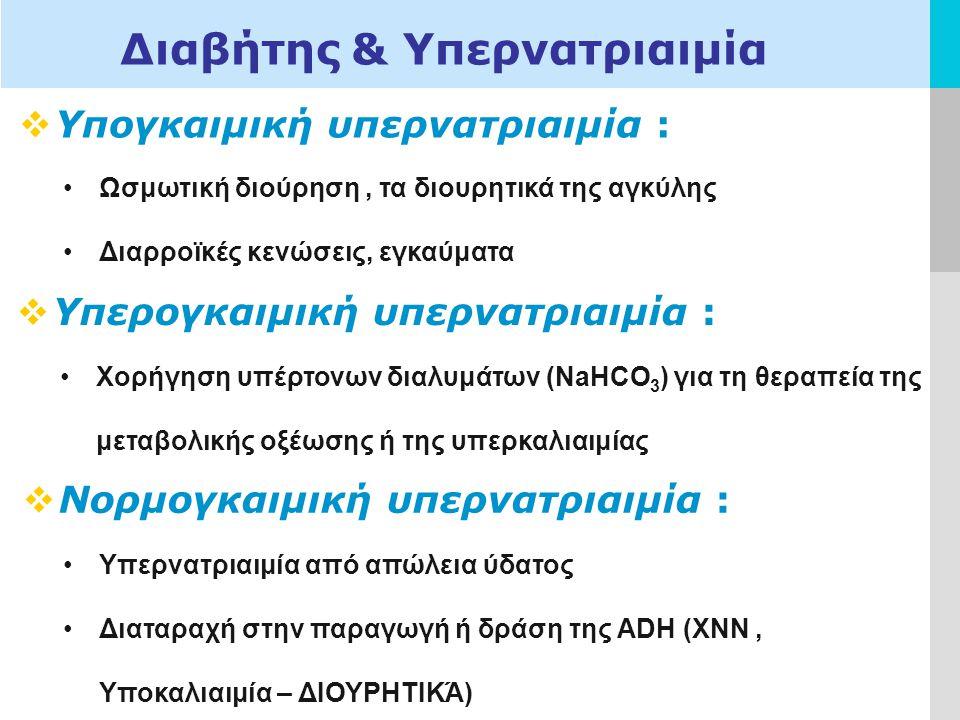 LOGO Διαβήτης & Υπερνατριαιμία  Υπογκαιμική υπερνατριαιμία : Ωσμωτική διούρηση, τα διουρητικά της αγκύλης Διαρροϊκές κενώσεις, εγκαύματα  Υπερογκαιμική υπερνατριαιμία : Χορήγηση υπέρτονων διαλυμάτων (NaHCO 3 ) για τη θεραπεία της μεταβολικής οξέωσης ή της υπερκαλιαιμίας  Νορμογκαιμική υπερνατριαιμία : Υπερνατριαιμία από απώλεια ύδατος Διαταραχή στην παραγωγή ή δράση της ADH (ΧΝΝ, Υποκαλιαιμία – ΔΙΟΥΡΗΤΙΚΆ)