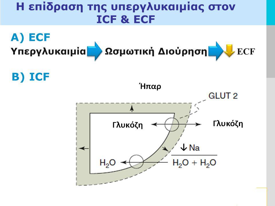 LOGO Η επίδραση της υπεργλυκαιμίας στον ICF & ECF Α) ECF Υπεργλυκαιμία Ωσμωτική Διούρηση ECF B) ICF