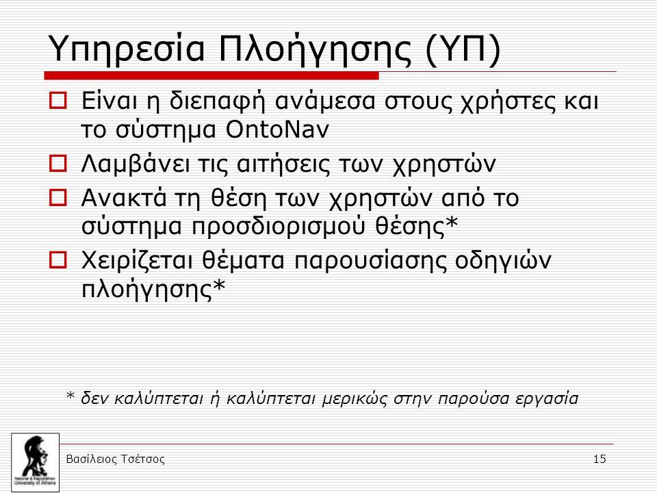 Βασίλειος Τσέτσος 15 Υπηρεσία Πλοήγησης (ΥΠ)  Είναι η διεπαφή ανάμεσα στους χρήστες και το σύστημα OntoNav  Λαμβάνει τις αιτήσεις των χρηστών  Ανακ