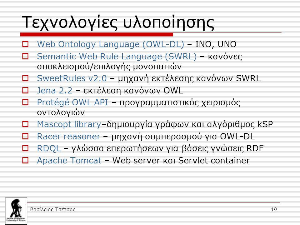 Βασίλειος Τσέτσος 19 Τεχνολογίες υλοποίησης  Web Ontology Language (OWL-DL) – ΙΝΟ, UNO  Semantic Web Rule Language (SWRL) – κανόνες αποκλεισμού/επιλογής μονοπατιών  SweetRules v2.0 – μηχανή εκτέλεσης κανόνων SWRL  Jena 2.2 – εκτέλεση κανόνων OWL  Protégé OWL API – προγραμματιστικός χειρισμός οντολογιών  Mascopt library–δημιουργία γράφων και αλγόριθμος kSP  Racer reasoner – μηχανή συμπερασμού για OWL-DL  RDQL – γλώσσα επερωτήσεων για βάσεις γνώσεις RDF  Apache Tomcat – Web server και Servlet container