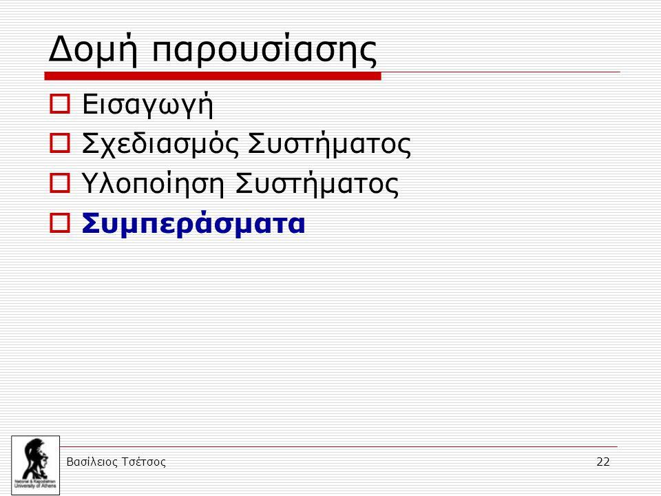 Βασίλειος Τσέτσος 22 Δομή παρουσίασης  Εισαγωγή  Σχεδιασμός Συστήματος  Υλοποίηση Συστήματος  Συμπεράσματα