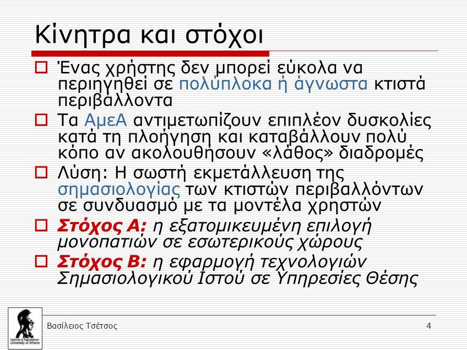 Βασίλειος Τσέτσος 4 Κίνητρα και στόχοι  Ένας χρήστης δεν μπορεί εύκολα να περιηγηθεί σε πολύπλοκα ή άγνωστα κτιστά περιβάλλοντα  Τα ΑμεΑ αντιμετωπίζ