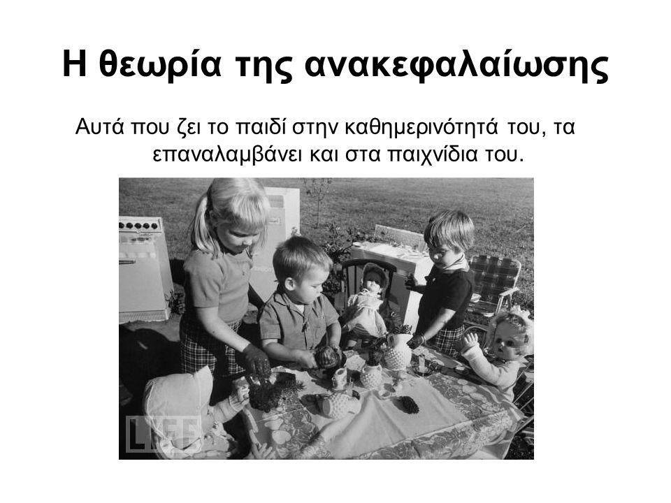 Η θεωρία της ανακεφαλαίωσης Αυτά που ζει το παιδί στην καθημερινότητά του, τα επαναλαμβάνει και στα παιχνίδια του.