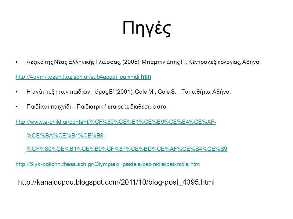 Πηγές Λεξικό της Νέας Ελληνικής Γλώσσας, (2005). Μπαμπινιώτης Γ., Κέντρο λεξικολογίας, Αθήνα. http://4gym-kozan.koz.sch.gr/sub4agogi_paixnidi.htm Η αν