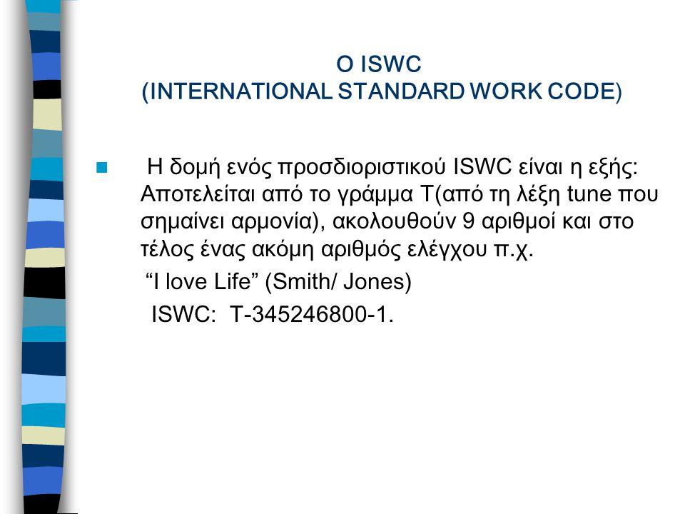 Ο ISWC (INTERNATIONAL STANDARD WORK CODE) Η δομή ενός προσδιοριστικού ΙSWC είναι η εξής: Αποτελείται από το γράμμα T(από τη λέξη tune που σημαίνει αρμονία), ακολουθούν 9 αριθμοί και στο τέλος ένας ακόμη αριθμός ελέγχου π.χ.