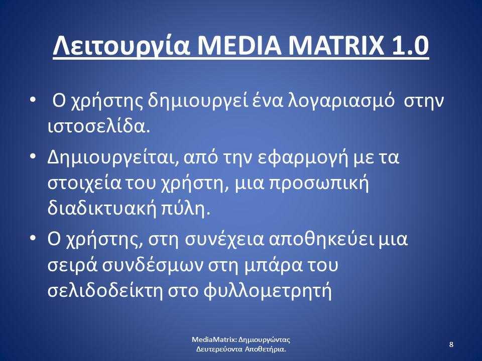 8 Λειτουργία MEDIA MATRIX 1.0 Ο χρήστης δημιουργεί ένα λογαριασμό στην ιστοσελίδα.