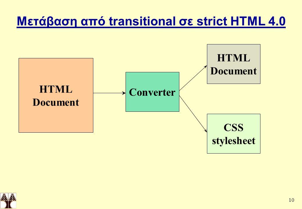 10 Μετάβαση από transitional σε strict HTML 4.0 HTML Document Converter HTML Document CSS stylesheet
