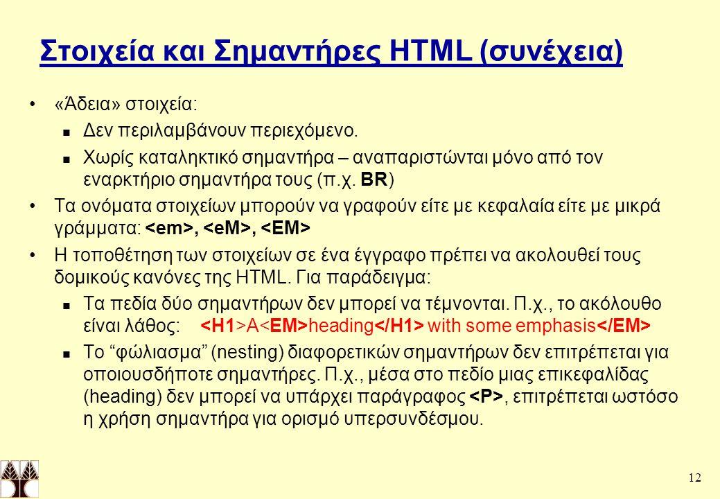 12 Στοιχεία και Σημαντήρες HTML (συνέχεια) «Άδεια» στοιχεία: Δεν περιλαμβάνουν περιεχόμενο.