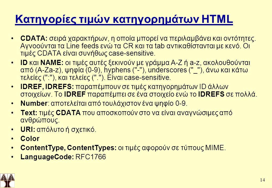 14 Κατηγορίες τιμών κατηγορημάτων HTML CDATA: σειρά χαρακτήρων, η οποία μπορεί να περιλαμβάνει και οντότητες.