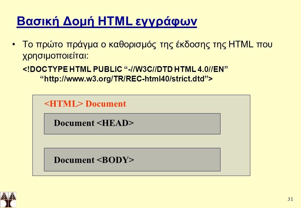 31 Βασική Δομή HTML εγγράφων Το πρώτο πράγμα ο καθορισμός της έκδοσης της HTML που χρησιμοποιείται: Document