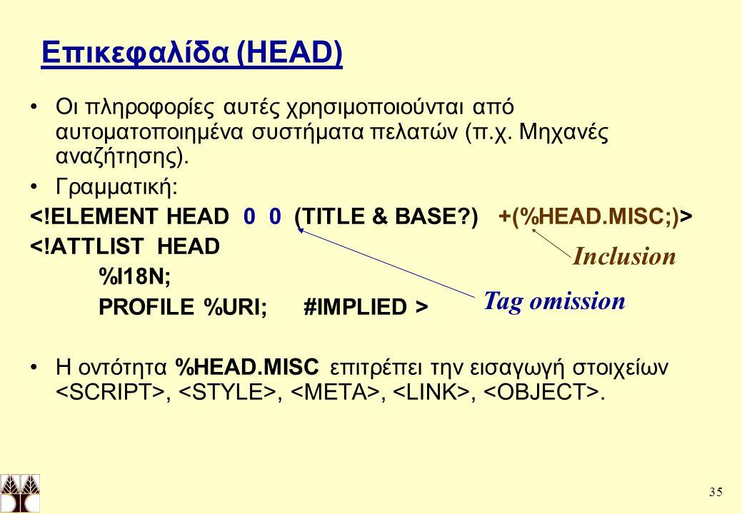 35 Επικεφαλίδα (HEAD) Οι πληροφορίες αυτές χρησιμοποιούνται από αυτοματοποιημένα συστήματα πελατών (π.χ.