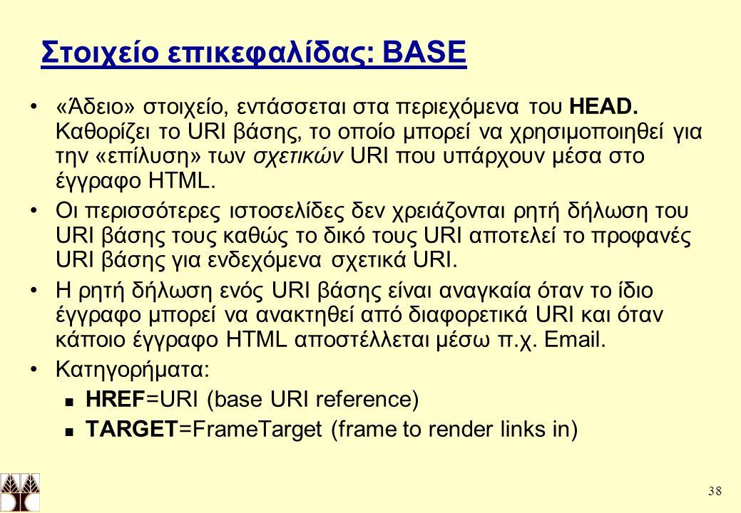 38 Στοιχείο επικεφαλίδας: BASE «Άδειο» στοιχείο, εντάσσεται στα περιεχόμενα του HEAD.