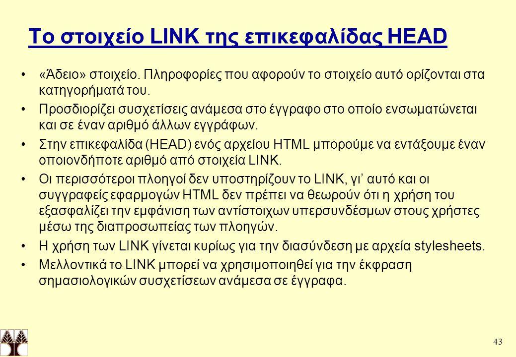 43 Tο στοιχείο LINK της επικεφαλίδας HEAD «Άδειο» στοιχείο.