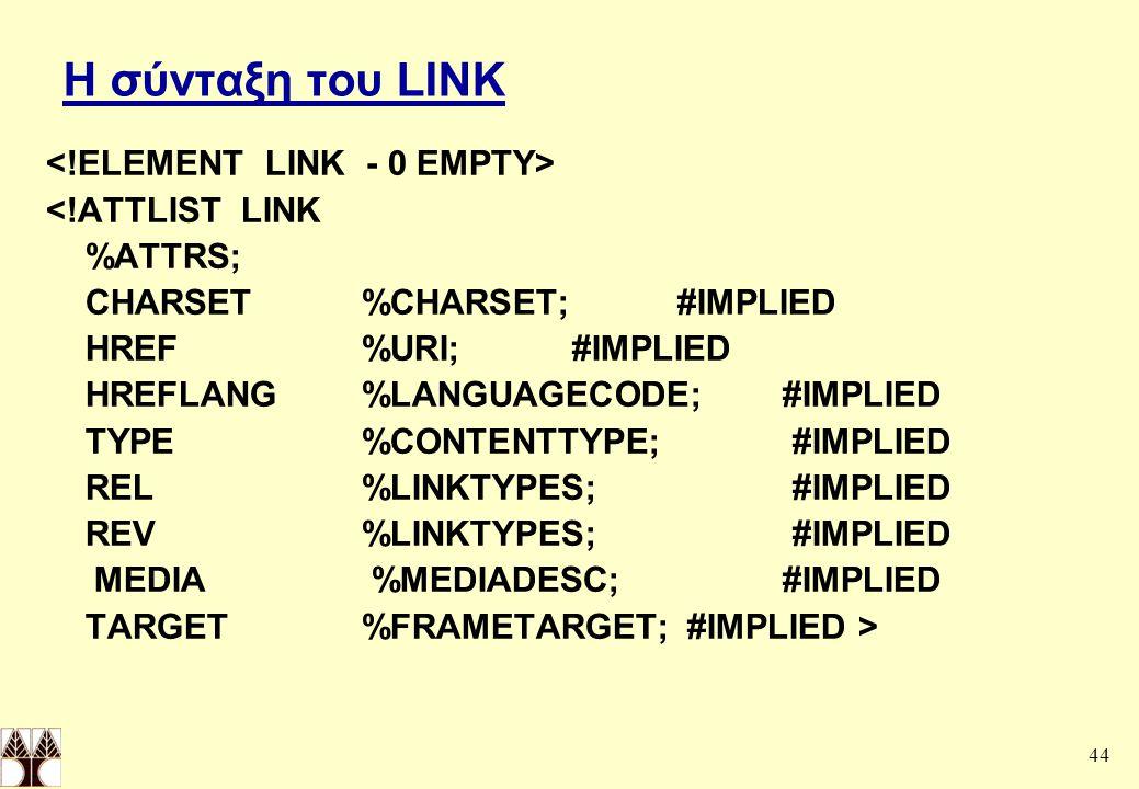 44 Η σύνταξη του LINK <!ATTLIST LINK %ATTRS; CHARSET%CHARSET;#IMPLIED HREF%URI;#IMPLIED HREFLANG%LANGUAGECODE;#IMPLIED TYPE%CONTENTTYPE; #IMPLIED REL%LINKTYPES; #IMPLIED REV%LINKTYPES; #IMPLIED MEDIA %MEDIADESC;#IMPLIED TARGET%FRAMETARGET; #IMPLIED >