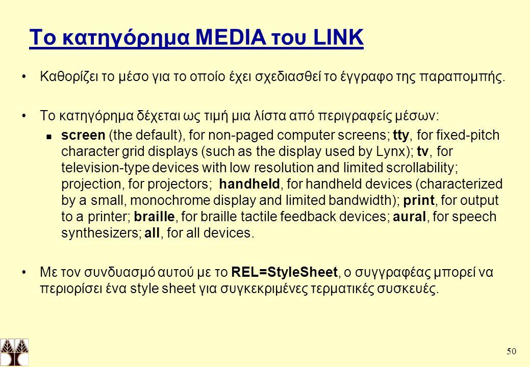 50 Το κατηγόρημα MEDIA του LINK Καθορίζει το μέσο για το οποίο έχει σχεδιασθεί το έγγραφο της παραπομπής.