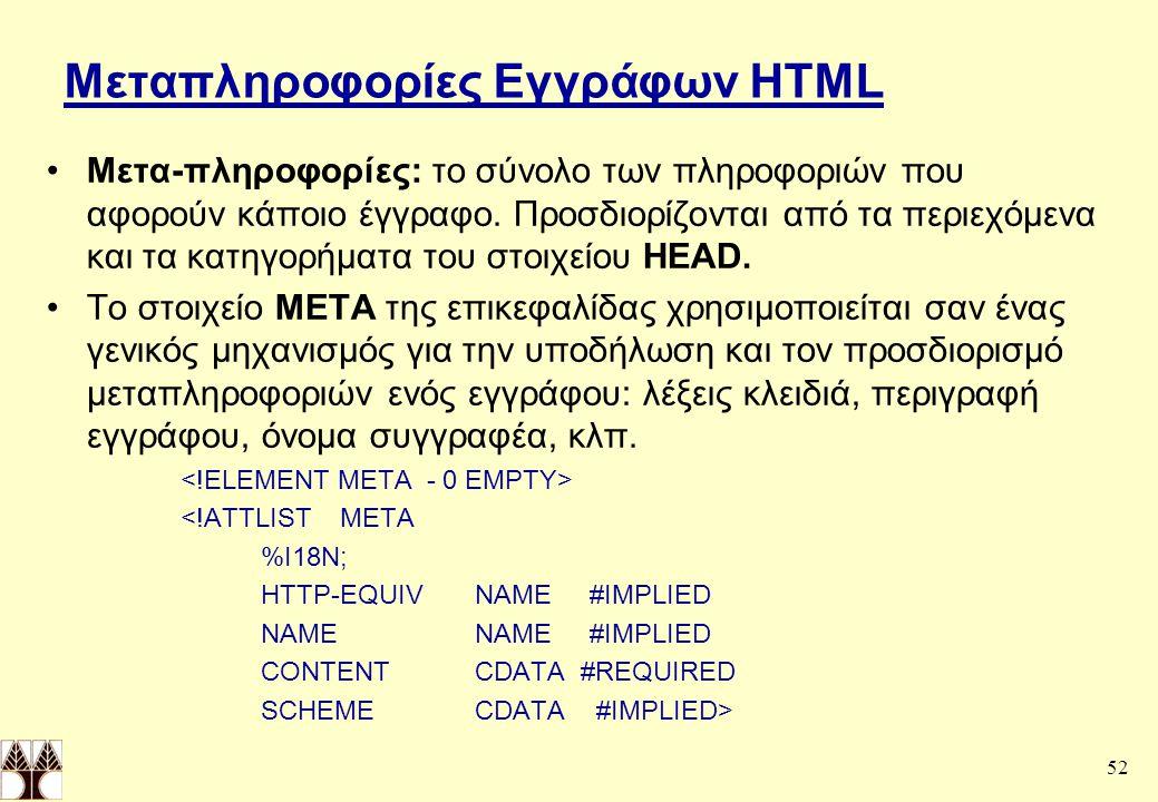 52 Μεταπληροφορίες Εγγράφων HTML Μετα-πληροφορίες: το σύνολο των πληροφοριών που αφορούν κάποιο έγγραφο.