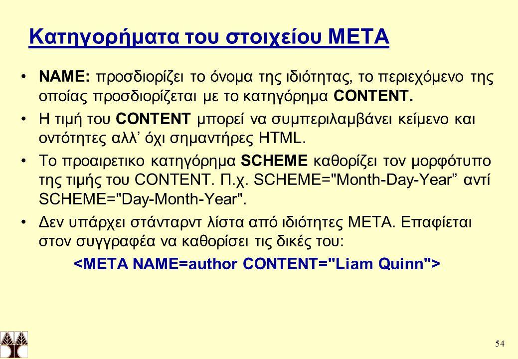 54 Κατηγορήματα του στοιχείου ΜΕΤΑ NAME: προσδιορίζει το όνομα της ιδιότητας, το περιεχόμενο της οποίας προσδιορίζεται με το κατηγόρημα CONTENT.