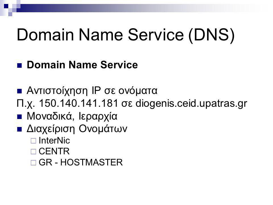 Domain Name Service (DNS) Domain Name Service Αντιστοίχηση IP σε ονόµατα Π.χ. 150.140.141.181 σε diogenis.ceid.upatras.gr Μοναδικά, Ιεραρχία Διαχείρισ