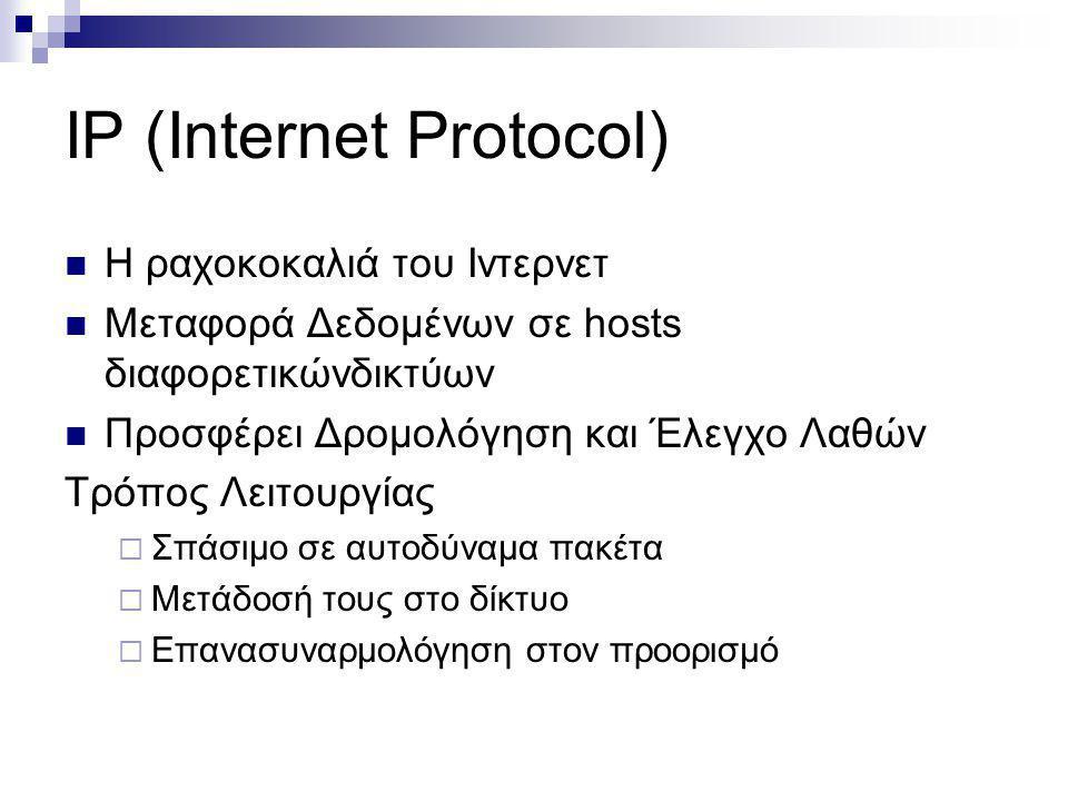 IP (Internet Protocol) Η ραχοκοκαλιά του Ιντερνετ Μεταφορά Δεδοµένων σε hosts διαφορετικώνδικτύων Προσφέρει Δροµολόγηση και Έλεγχο Λαθών Τρόπος Λειτου