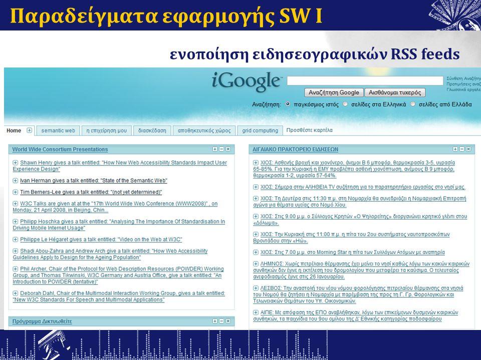 Παραδείγματα εφαρμογής SW Ι ενοποίηση ειδησεογραφικών RSS feeds