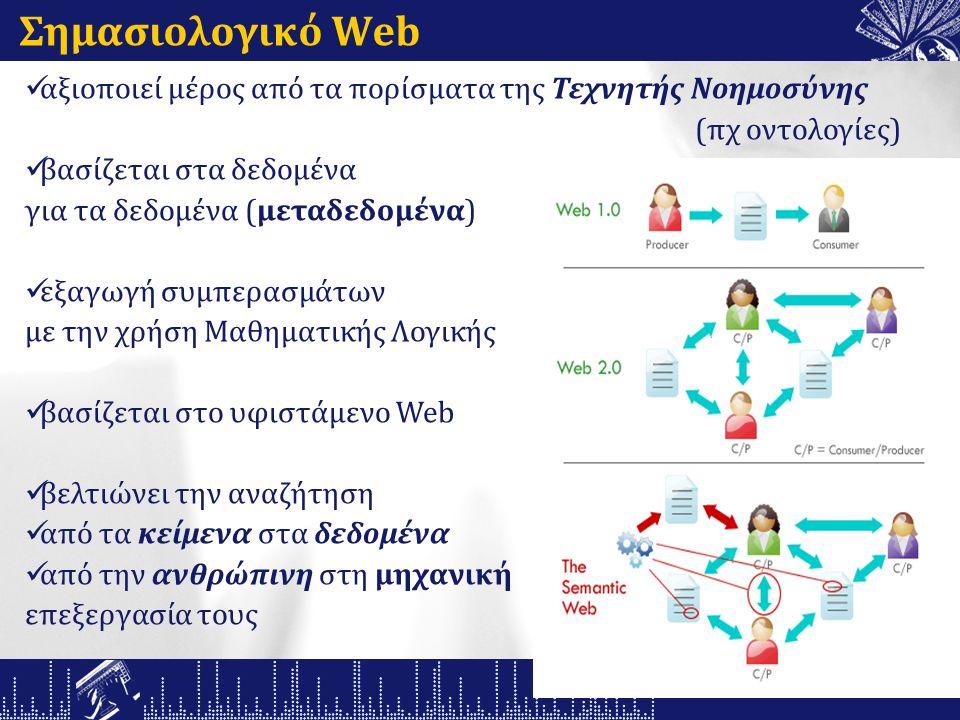 Σημασιολογικό Web αξιοποιεί μέρος από τα πορίσματα της Τεχνητής Νοημοσύνης (πχ οντολογίες) βασίζεται στα δεδομένα για τα δεδομένα (μεταδεδομένα) εξαγωγή συμπερασμάτων με την χρήση Μαθηματικής Λογικής βασίζεται στο υφιστάμενο Web βελτιώνει την αναζήτηση από τα κείμενα στα δεδομένα από την ανθρώπινη στη μηχανική επεξεργασία τους
