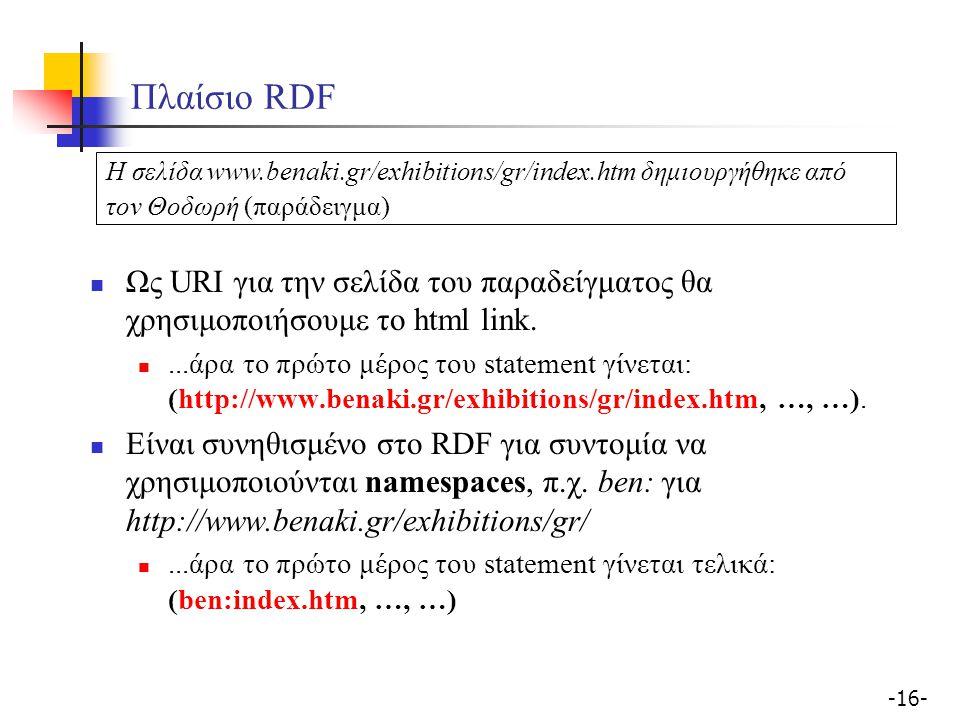 -16- Πλαίσιο RDF Ως URI για την σελίδα του παραδείγματος θα χρησιμοποιήσουμε το html link....άρα το πρώτο μέρος του statement γίνεται: (http://www.ben