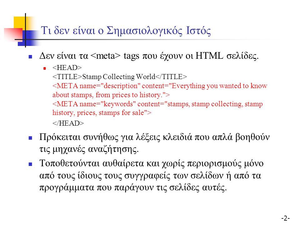 -2--2- Τι δεν είναι ο Σημασιολογικός Ιστός Δεν είναι τα tags που έχουν οι HTML σελίδες. Stamp Collecting World Πρόκειται συνήθως για λέξεις κλειδιά πο