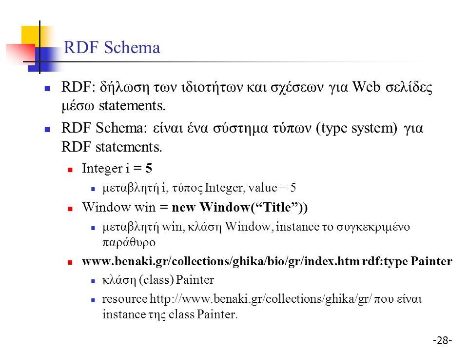 -28- RDF Schema RDF: δήλωση των ιδιοτήτων και σχέσεων για Web σελίδες μέσω statements. RDF Schema: είναι ένα σύστημα τύπων (type system) για RDF state