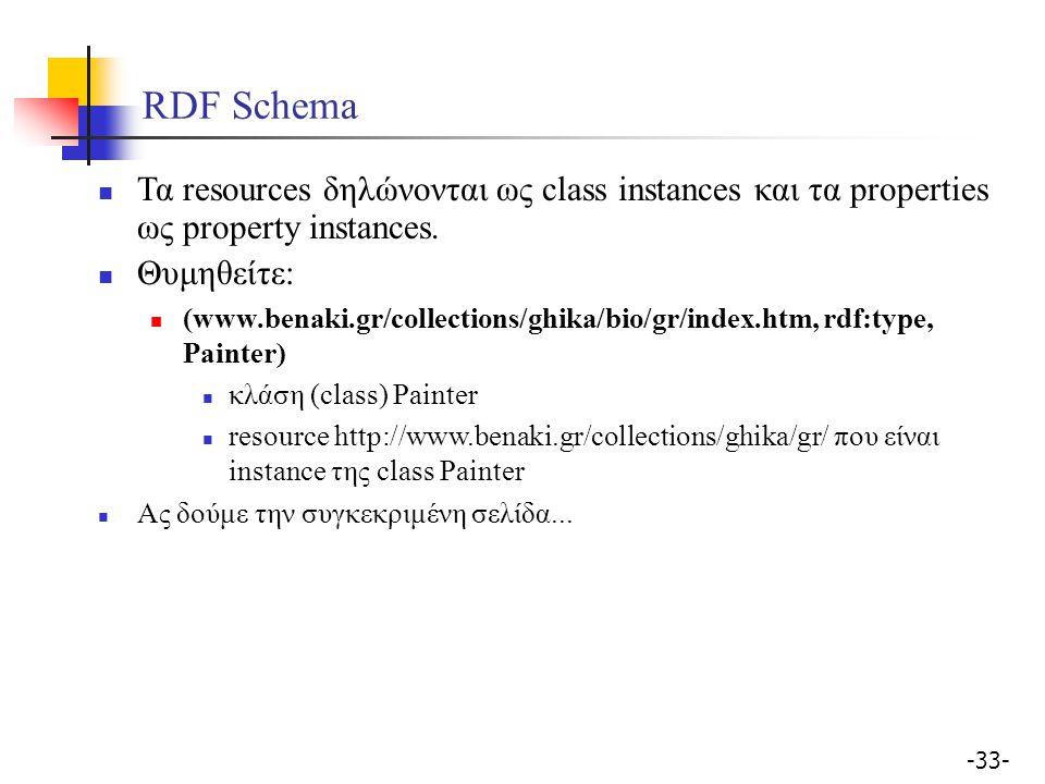 -33- RDF Schema Τα resources δηλώνονται ως class instances και τα properties ως property instances. Θυμηθείτε: (www.benaki.gr/collections/ghika/bio/gr