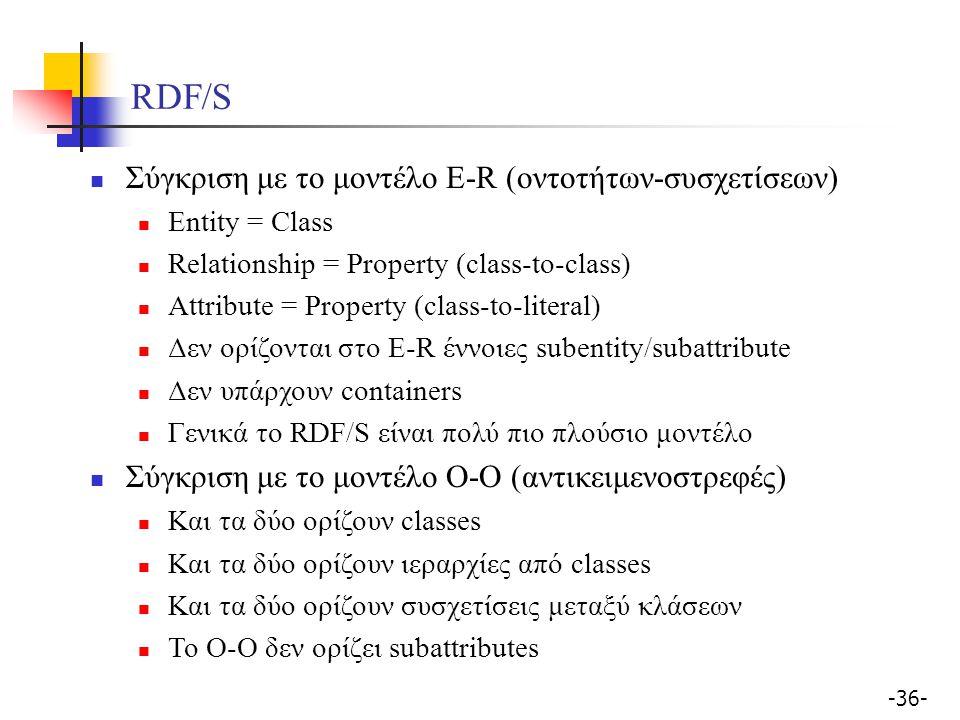 -36- RDF/S Σύγκριση με το μοντέλο E-R (οντοτήτων-συσχετίσεων) Entity = Class Relationship = Property (class-to-class) Attribute = Property (class-to-l