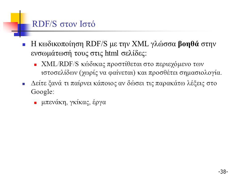 -38- RDF/S στον Ιστό H κωδικοποίηση RDF/S με την XML γλώσσα βοηθά στην ενσωμάτωσή τους στις html σελίδες: XML/RDF/S κώδικας προστίθεται στο περιεχόμεν
