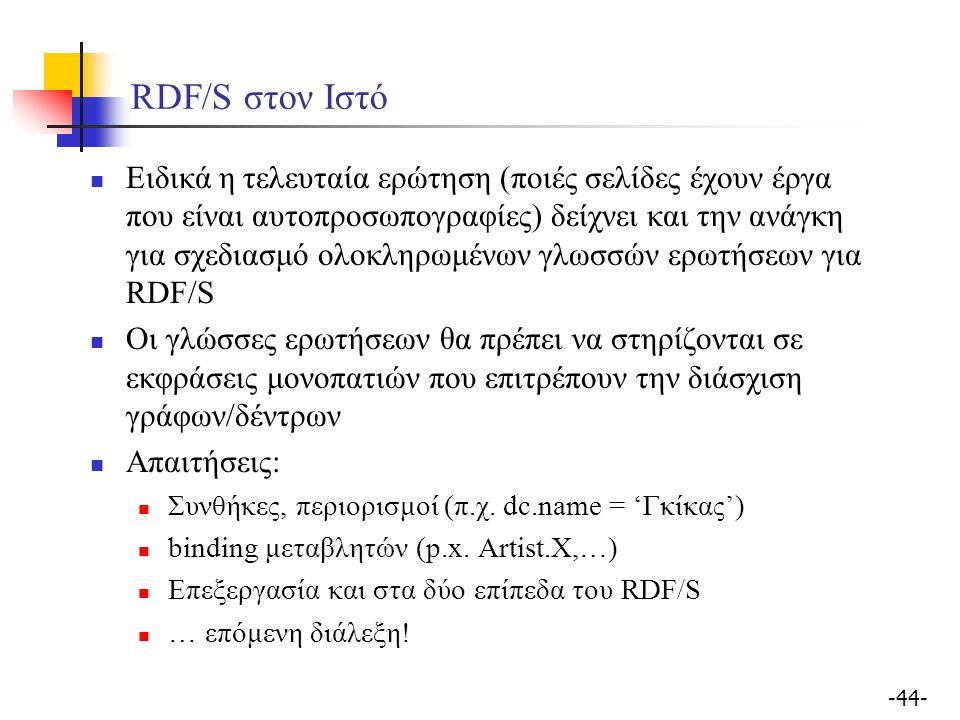 -44- RDF/S στον Ιστό Ειδικά η τελευταία ερώτηση (ποιές σελίδες έχουν έργα που είναι αυτοπροσωπογραφίες) δείχνει και την ανάγκη για σχεδιασμό ολοκληρωμ